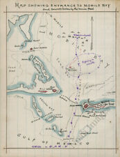 Map showing entrance to Mobile Bay Al c1864 repro 12x15