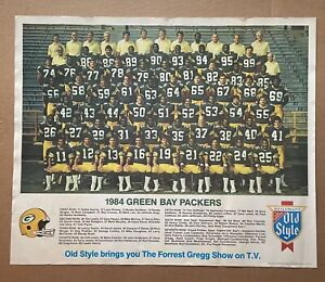 Vintage 1984 Old Style Beer Green Bay Packers Team Photo 22x18