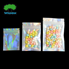One Side Holographic Laser One Side Clear Zip Lock Bags Leak Proof Pouch 100 PCS