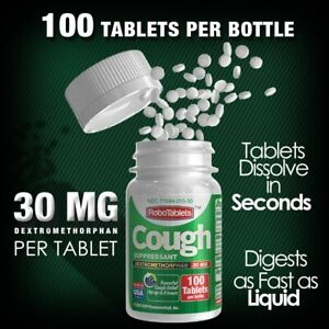RoboTablets™ - 100 Tablets Per Bottle, 30mg DXM Per Tablet - RoboCough™ Tablets!