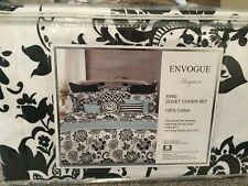 Envogue Black White Floral Damask King 3pc Duvet Set Paisley Cotton Cover NEW