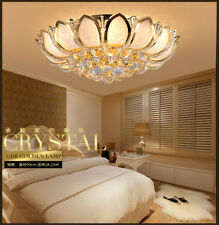 Modern Lotus Flower Crystal Ceiling Light Glass Lampshade Gold Chandelier Lamp
