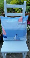 "Cushion Cover 18"" x 18"" Laura Ashley Cotton Yachts Sea Blue Beach Hut Holiday UK"