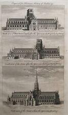 1776 Antique Print;  Good size & rare view; Old St Paul's Church, London