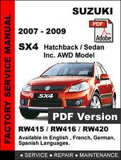 SUZUKI SX4 2007 - 2009 FACTORY SERVICE REPAIR WORKSHOP OEM MAINTENANCE MANUAL