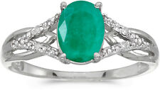 14k White Gold Oval Emerald And Diamond Ring (CM-RM2620XW-05)