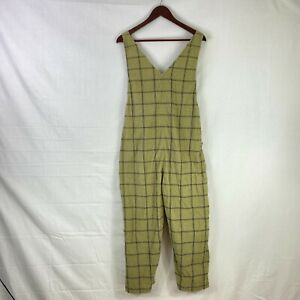 Unbranded Size 12 Womens Green Jumpsuit Check Print V Neck Cross Back Sleeveless