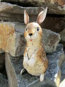"Rustic Charming 15"" Tall All Metal Rabbit Bunny Yard Art Garden Home Decor"
