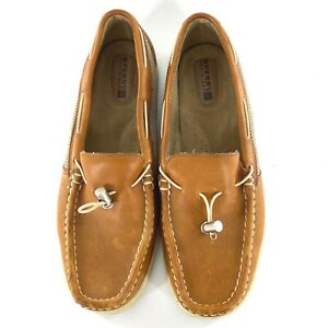 Women's Sperry Top-Sider Saddle Brown Leather Loafers Flats Shoes Toggle Vamp 8M