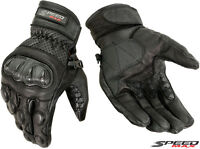 MENS PERFORATED CARBON KNUCKLE PROTECT MOTORBIKE MOTORCYCLE SHORT LEATHER GLOVES
