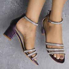 Señoras Diamante Detalle Con Tiras Tacón Bajo Mediados Bloque Peep Toe Sandalias Zapatos 3-8