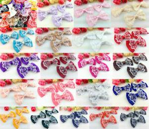 DIY 80pcs Satin Ribbon lace BOW Appliques/craft/Wedding decoration