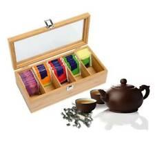 Wood Bamboo Tea Storage Bag Box Organizer Holder Sorter 5 Compartments Clear