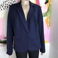 NWT Women's Lane Bryant Navy Blue Blazer Jacket Size 16 Soft one button