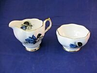 Vintage QUEEN ANNE Creamer & Sugar Bowl - Blue Rose and White Flowers - Delicate
