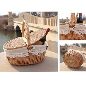 New-Handmade Wicker Basket with Handle Wicker Camping Picnic Basket with Double