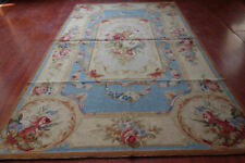3' X 5' So Beautiful  Needlepoint Rug Blue Beige French Palace Rose Floral #25