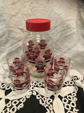Vintage Santa Christmas Glass Cookie Jar 3L Glass and 4 Cup Luminarc Glasses