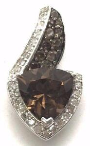 Exclusive 1.27 Carat Smoke Quartz White Topas Pendant 925 Silver Collier Necklace
