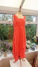 ELLA MODA MADE IN ITALY LONG BRIGHT ORANGE 100% LINEN LAGENLOOK DRESS SIZE XL