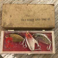Vintage Heddon Super Sonic Kit 3 Fishing Lures w Plastic Case & Box Sleeve