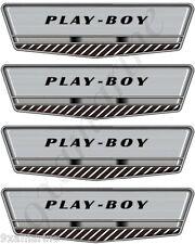 "Four Larson Play Boy Vintage Decals. 7""X2"" Each. OEM size"