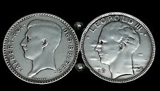 Vintage Two Coins 1935 Albert I & Leopold Iii Belgium Silver Brooch Pin