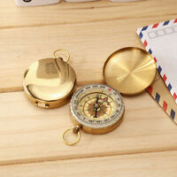 Pocket Brass Compass Watch Style Outdoor Camping Hiking Navigation Keychain New