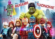 Cialda - Ostia per torte Lego Avengers Rettangolare - Personalizzabile!