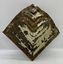 Vintage Antique Metal Tin Ceiling Tile Corner Reclaim Primitive Rustic Salvage