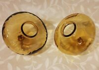 A Pair of Antique Vintage Amber Glass Oil Lamp Fonts.