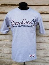 NEW YORK YANKEES MEN'S T SHIRT M GRAY MAJESTIC BASEBALL S. SLEEVE COTTON BLEND