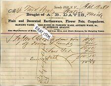 1881 BILLHEAD Sandy Hill New York A. B. DAVIS earthenware flower pots cuspadores