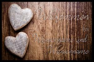 """Individuelle Fußmatte """"Herzen"""" mit Ihrem Namen oder Wunschtext"""