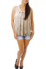 Maglie e camicie da donna camicetta beige con girocollo