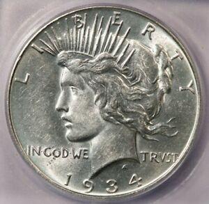 1934-P 1934 Peace Dollar ICG AU58