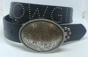 Nocona Youth Black Studded Rhinestone Cowgirl Belt Style- N4410601 28