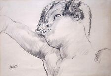 """SIR JACOB EPSTEIN Signed 1925 Original Drawing - """"Head of a Negress"""""""