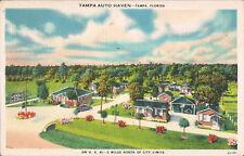 Tampa FL-Tampa Auto Haven-Brick Cabins-Carports-Roadside America-Linen Postcard