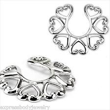 Steel Tribal Medium Hearts Fake Clip On No Non Piercing Nipple Shield Ring  #3