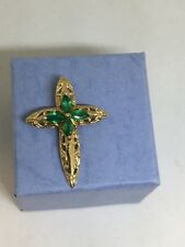 14K Yellow Gold Religious Cross Charm W/ Green Stones 2.7 Grams Free Shipping