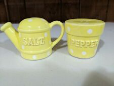 Enesco Watering Can and Flower Pot Salt & Pepper Shakers Yellow w/ White Dots