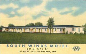 Nevada Missouri South Winds Motel Teich Roadside 1940s Postcard 20-6899