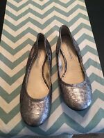 VERA WANG LAVENDER 'Lillian' Mottled Silvery Gray Leather Ballet Flat Size 8M