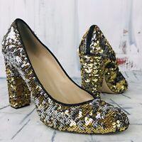 J. Crew Collection Etta Made in Italy Sequin Block Heels Women's Size 8.5 $350