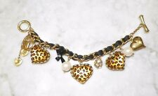 BETSEY JOHNSON LEOPARD PRINT HEART PEARLS CHARM BRACELET TOGGLE CLOSURE