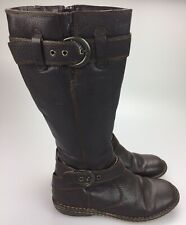 BOC Born Womens Size 7 /38 Tall Boots Distressed Brown Leather Knee High Zip