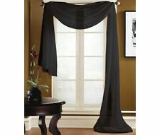"1 SCARF VALANCE VOILE SHEER FABRIC ELEGANT WINDOW CURTAIN DRAPE 35""X216"" BLACK"
