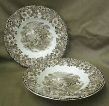 """2 UNUSED Enoch Wedgwood Woodland Pattern 8.5"""" Rimmed Soup Bowls - more available"""
