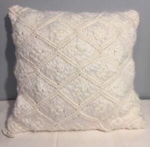 """Square Heathered Macrame Throw Pillow  White 18"""" x 18"""" Opalhouse New!"""